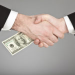 business manager handshake isolated with hundred dollar money