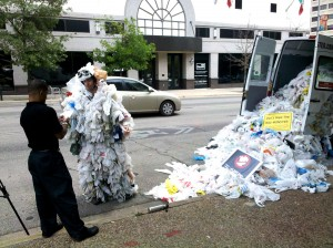 An anti-plastic bag activist in Austin, Texas