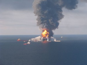 Fire boat response crews battle the blazing remnants of the off shore oil rig Deepwater Horizon April 21, 2010. Photo: US Coast Guard, via Wikimedia Commons