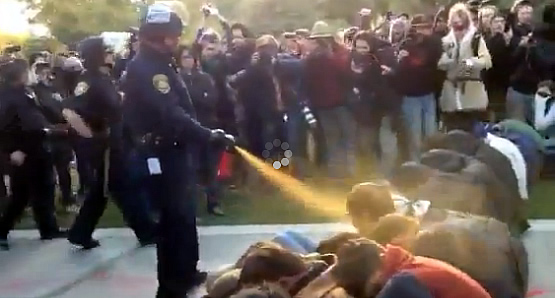 Police pepper spray demonstrators at UC Davis - Nov. 18, 2011 (via YouTube)