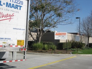 Outside Schneider warehouses in Mira Loma, Calif. (Photo by Lilly Fowler)