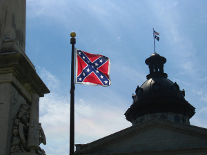 Confederate flag flying over state capitol in Columbia, South Carolina (2008).